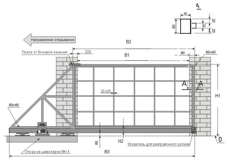 Ворота схема чертежи забор профлист казань